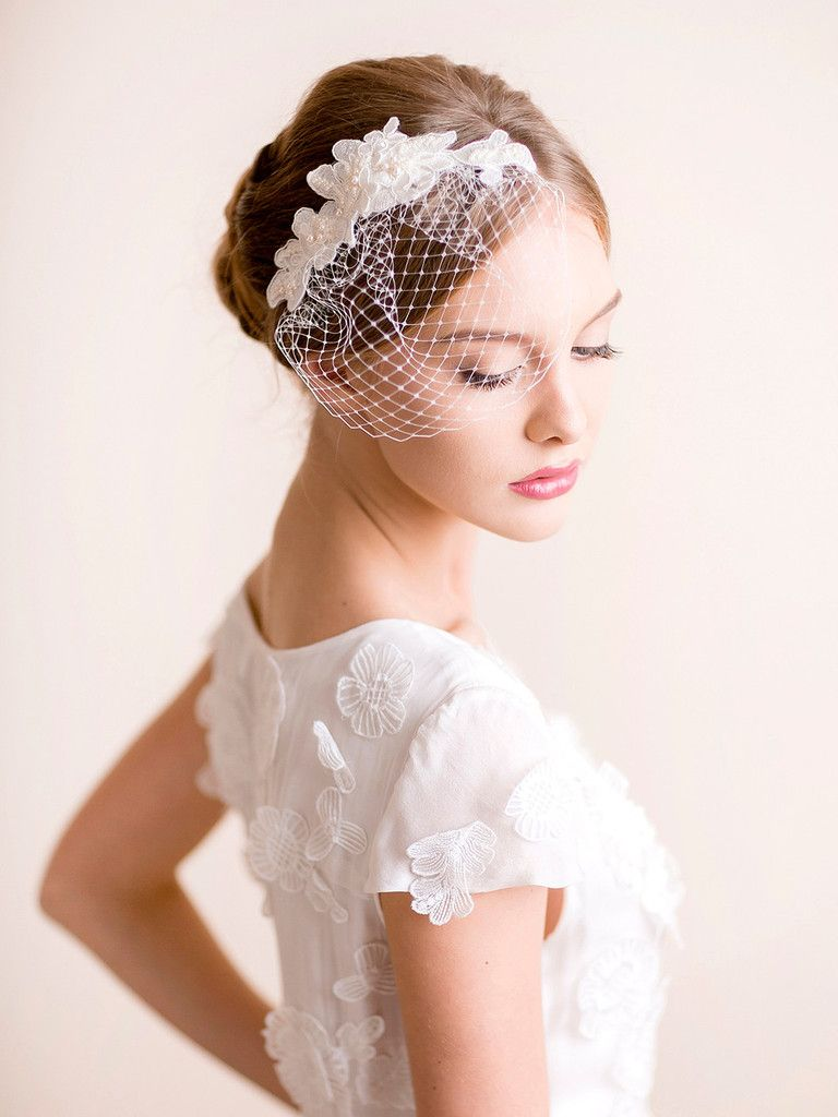 Mini Birdcage Veil Lace Lace Headpiece Lace Wedding Accessories Hair Accessories Veil