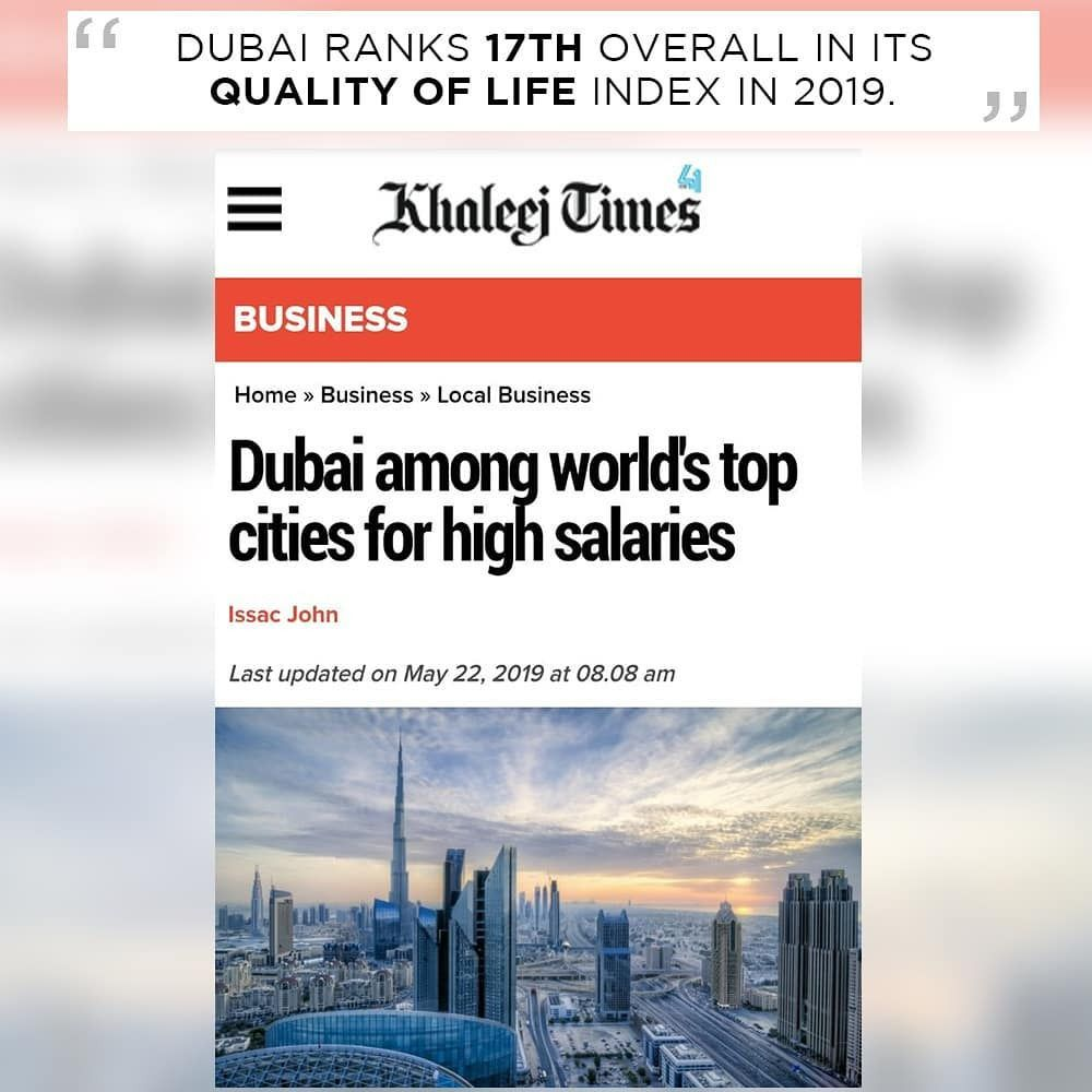 """Dubai ranks 14th in the world in high monthly salaries"