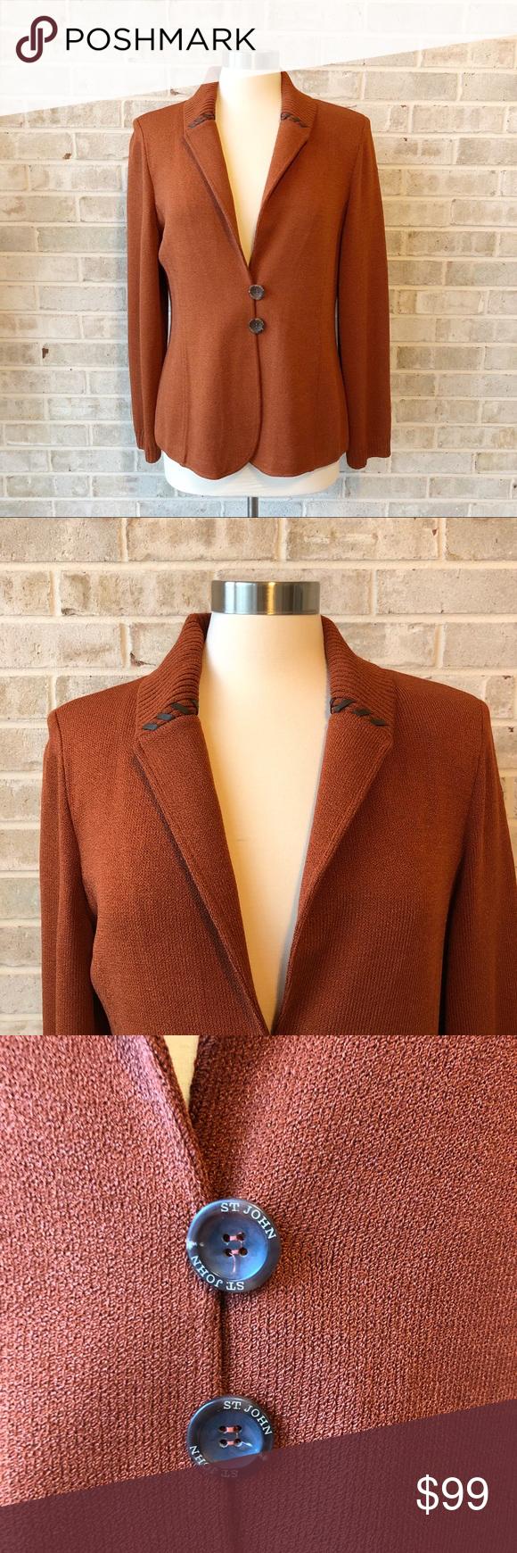 St John Sport Jacket Size M Blazer Santana Knit • Brand
