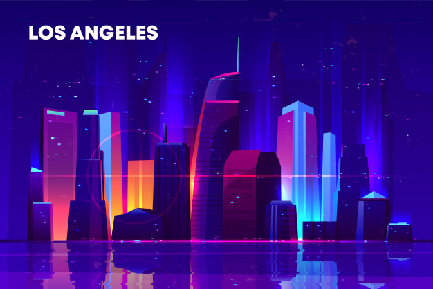 Download Los Angeles Skyline With Neon Illumination For Free Synthwave Los Angeles Skyline Synthwave Neon