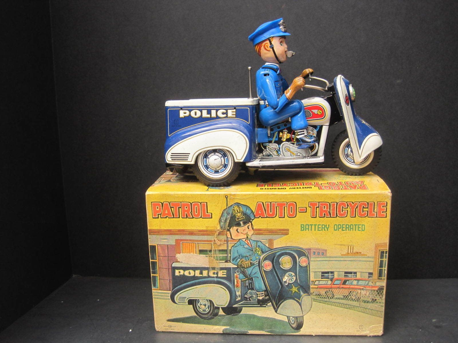 Nomura Patrol AutoTricycle. Battery Op toy 50s/ebay Toy