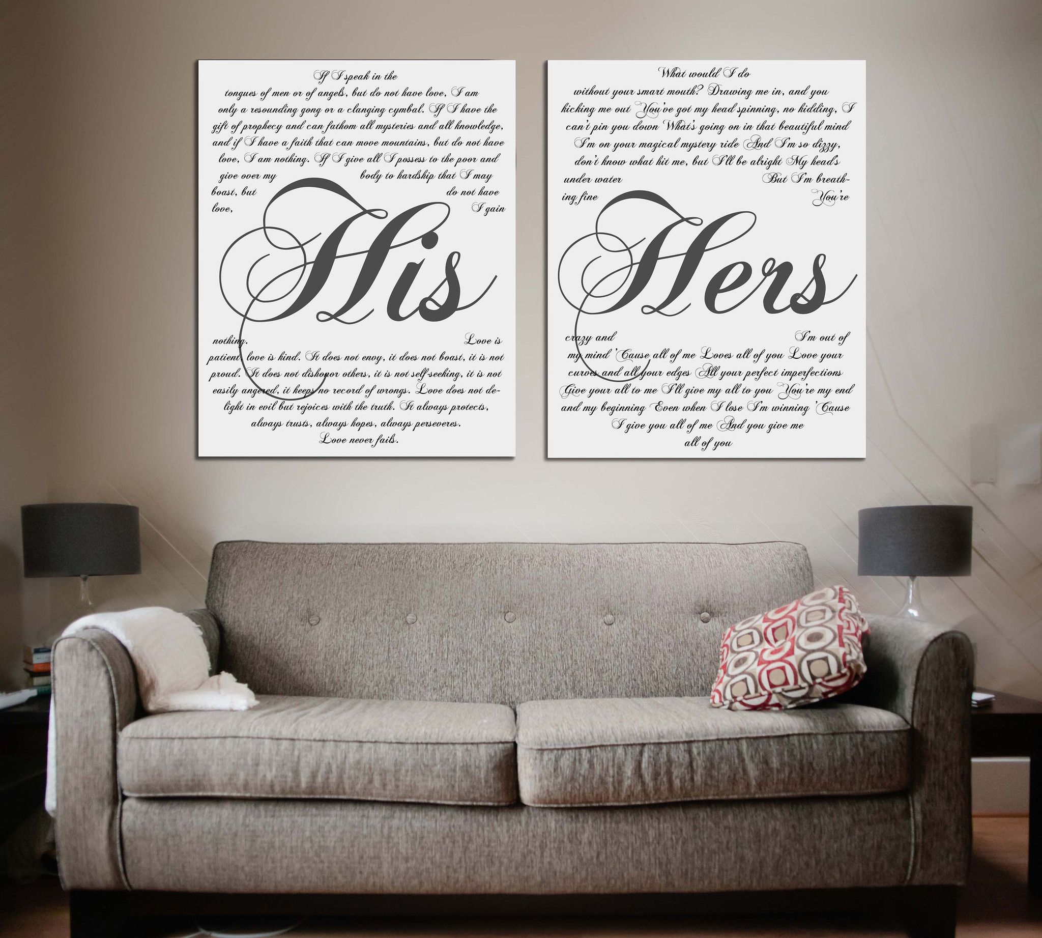 His And Her Vows On Canvas Personalized Wall Art Wedding Canvas Personalized Wall Art Wall Decor Bedroom