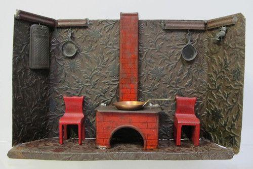 Antique Tin Amp Wood Diorama Doll S Child S Toy Kitchen