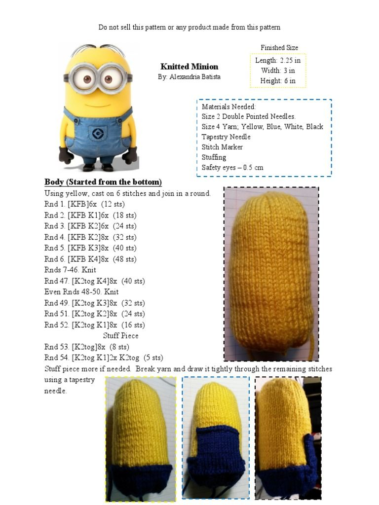 A knitting pattern for a minion from Despicable Me. | Crafts ...