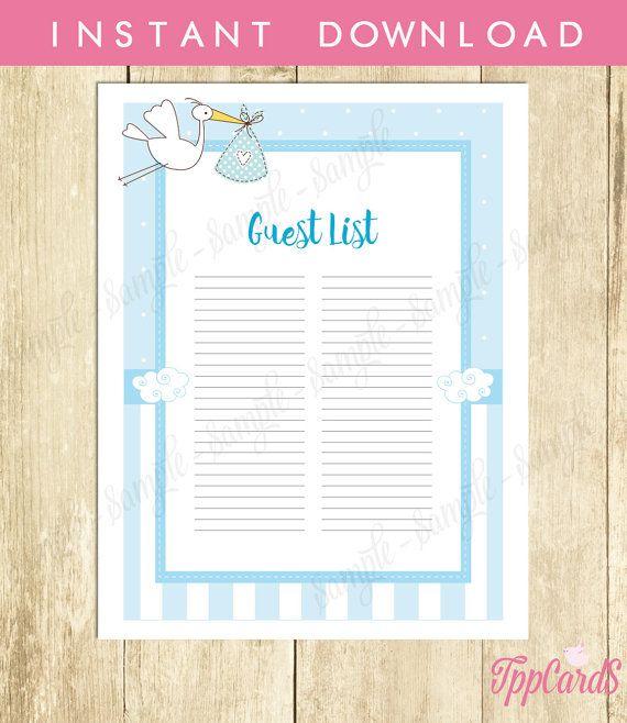 Stork Baby Shower Guest List Stork Baby Shower List Baby Shower – Baby Shower Guest List Printable