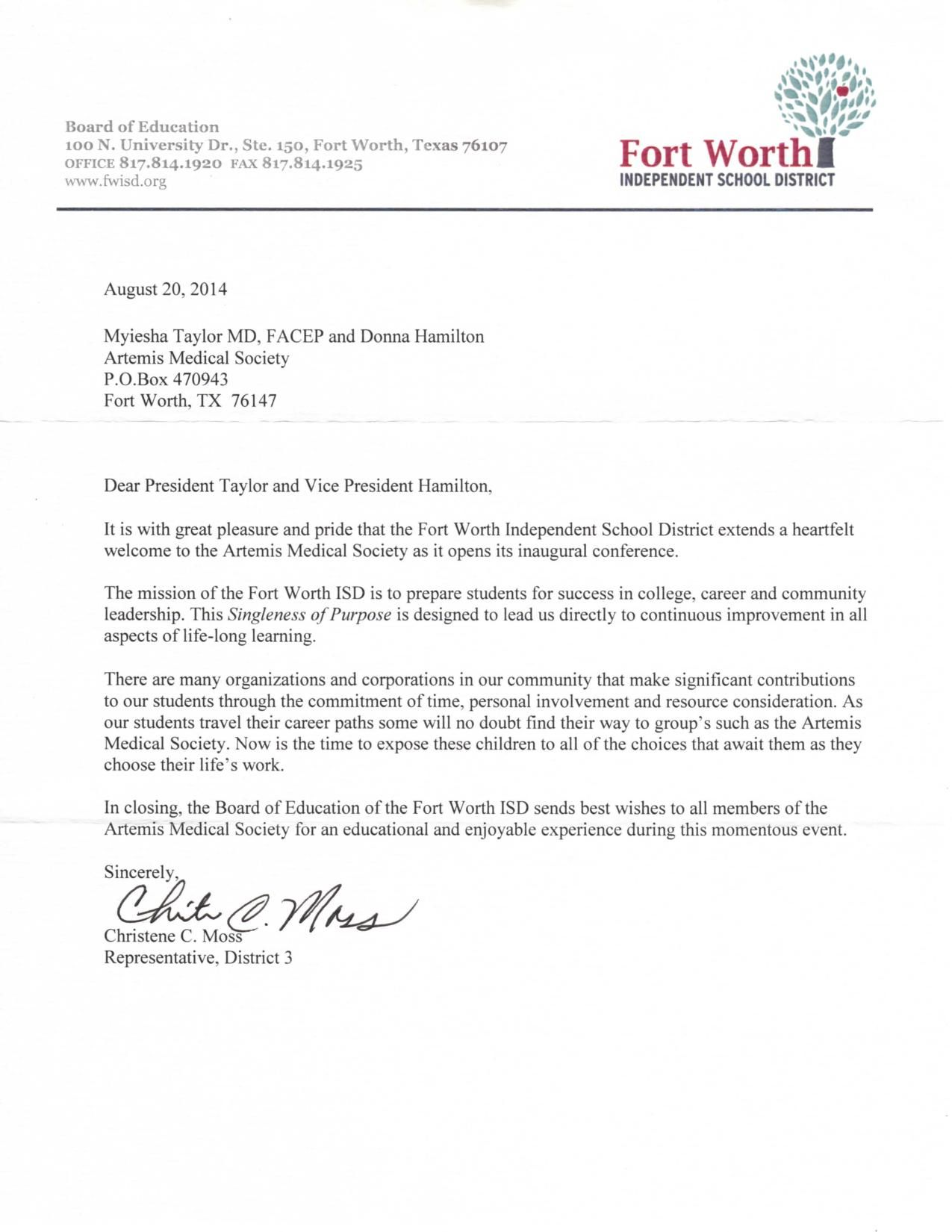 Letter From Fort Worth Independent School