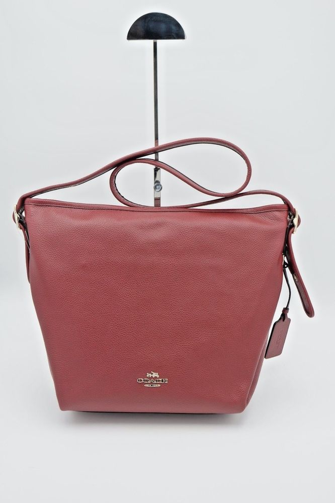 Bag · NWT Coach Red Polished Pebble Leather Dufflette Shoulder Hobo ... f56686664138f