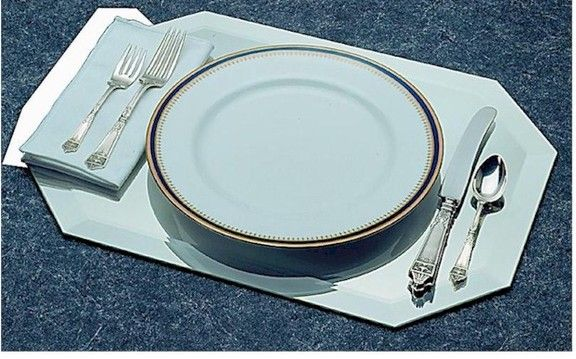 12x18 Inch Mirror Octagon Placemat With Bevel Culinary