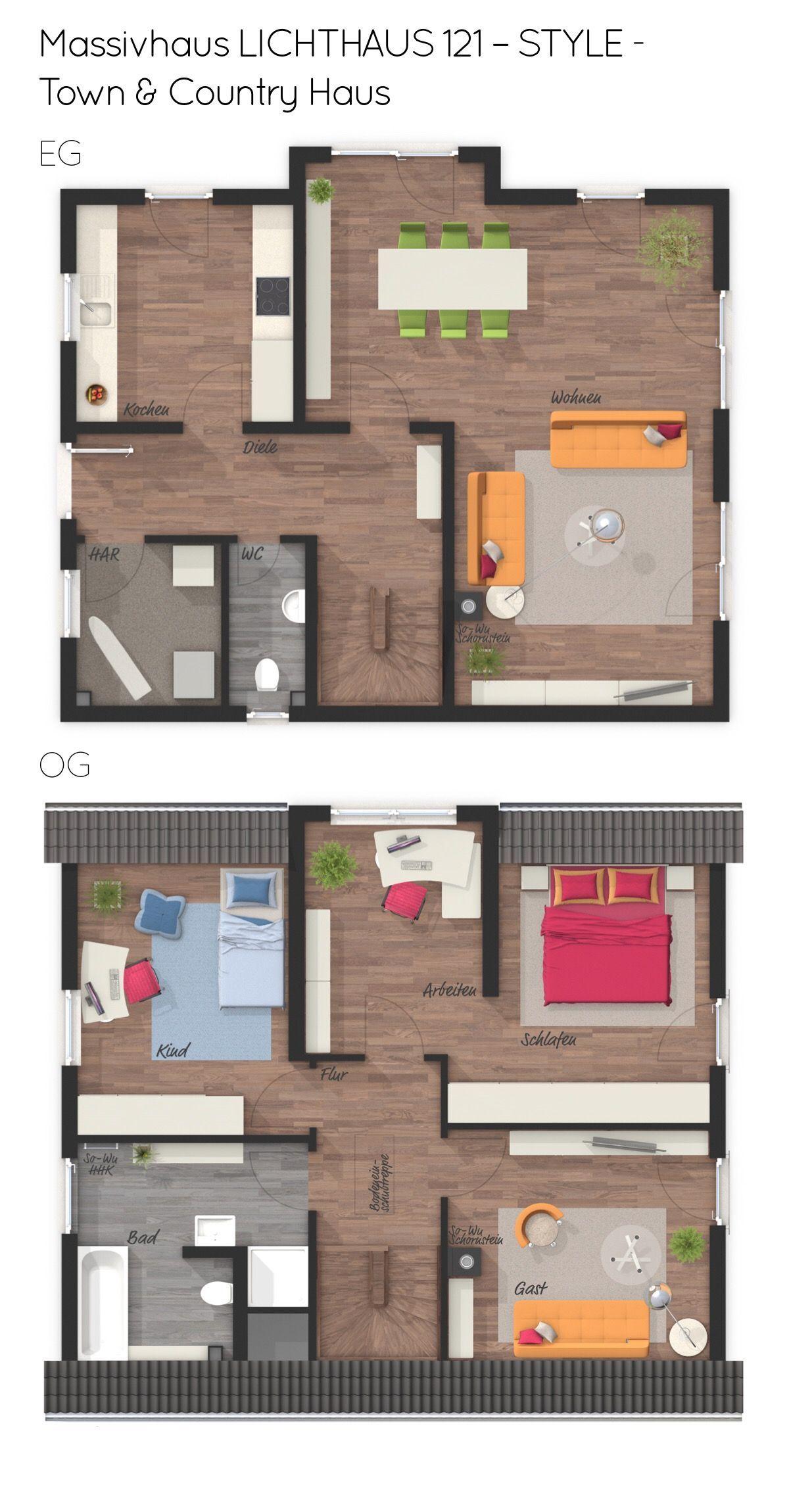 Grundriss Einfamilienhaus mit Satteldach & Giebel 4