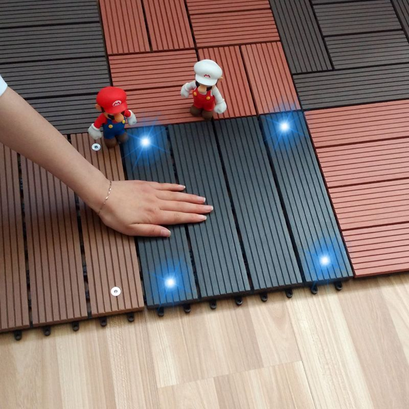 Wood Plastic Composite Flooring With Solar Light Outdoor