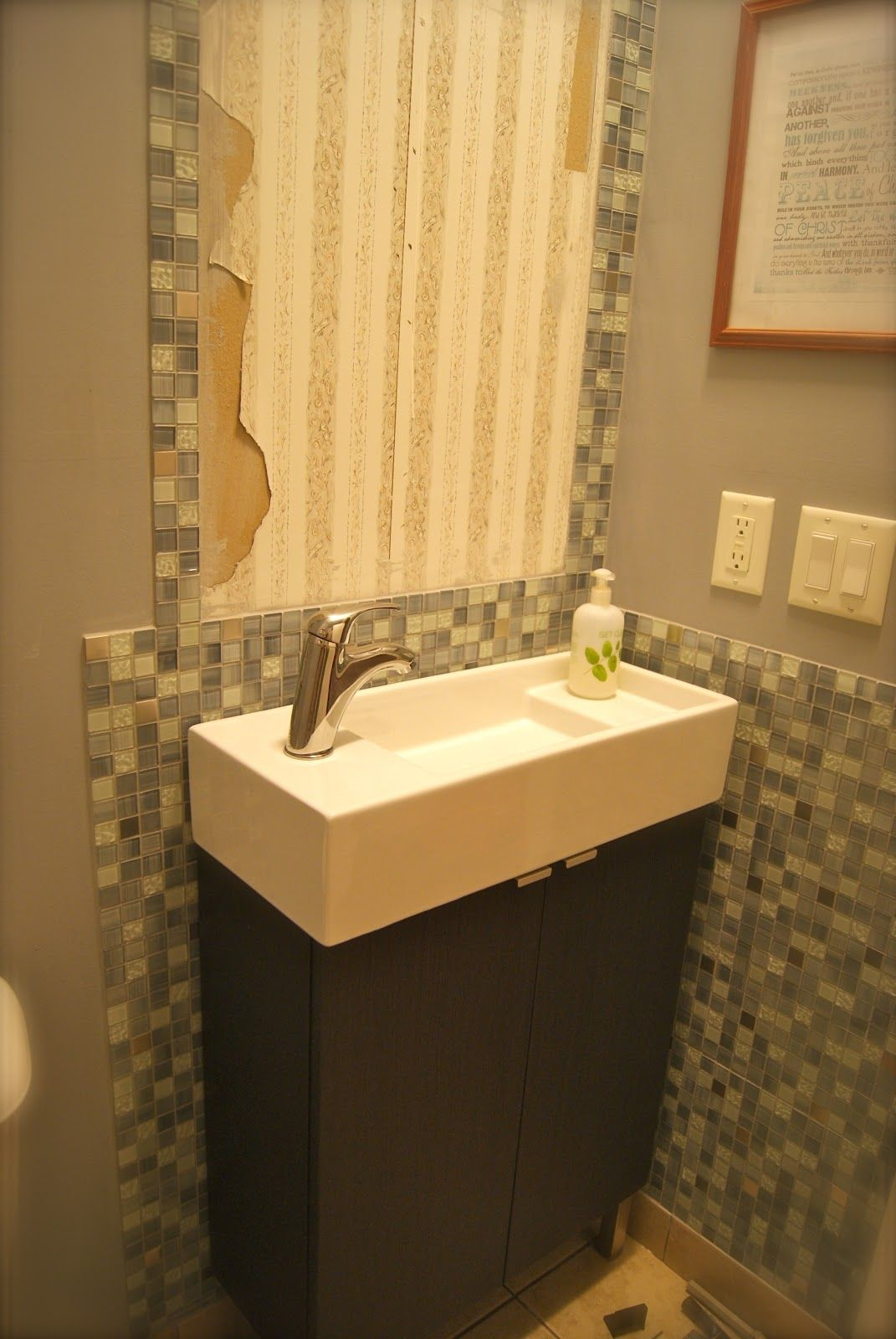 Design Megillah Bathroom Redesign For Under 200: Narrow Rectangular Bathroom Sink