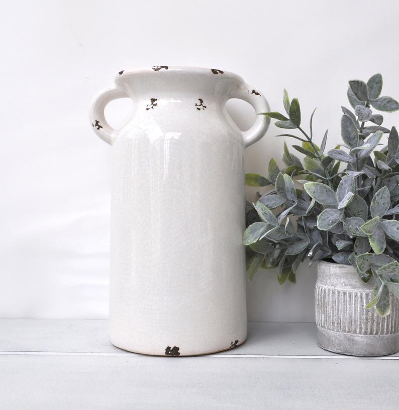 White Milk Jug Vase Farmhouse Decor Farmhouse Vase Rustic