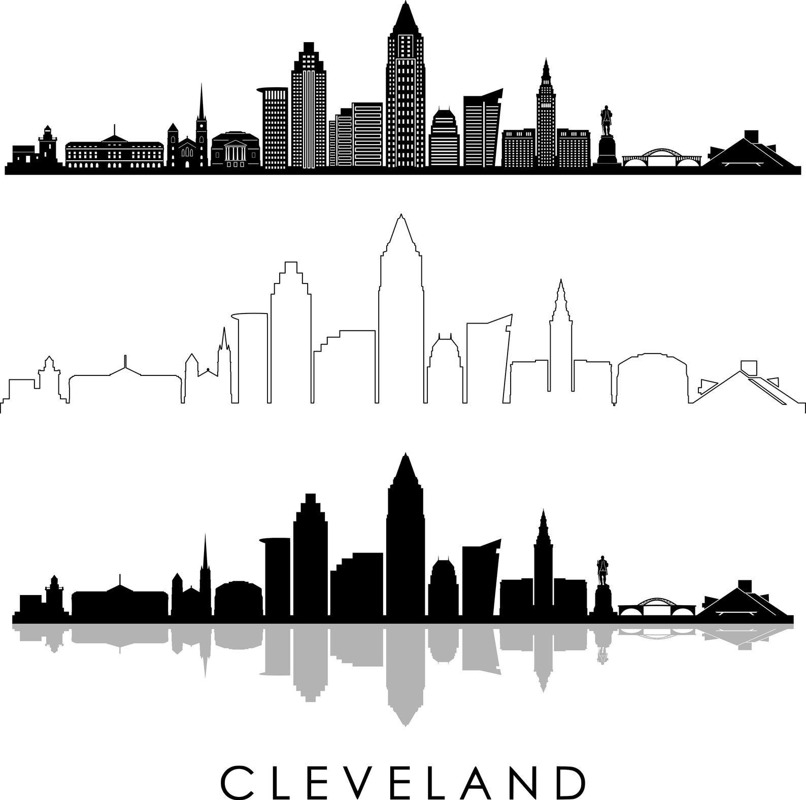 Cleveland Skyline Outline Silhouette Vector Svg Eps Jpg Png Etsy City Skyline Silhouette Cleveland Skyline Boston Skyline Silhouette