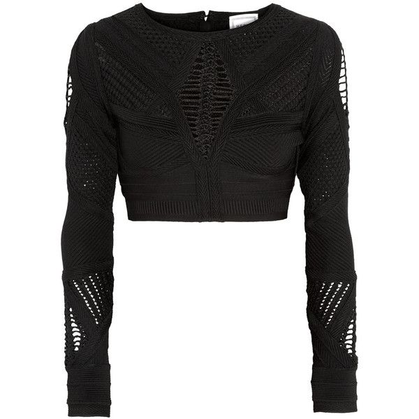 Hervé Léger - Crochet-paneled Cropped Bandage Top (£560) ❤ liked on Polyvore featuring tops, black, bandage crop tops, crop top, macrame top, herve leger top and hervé léger