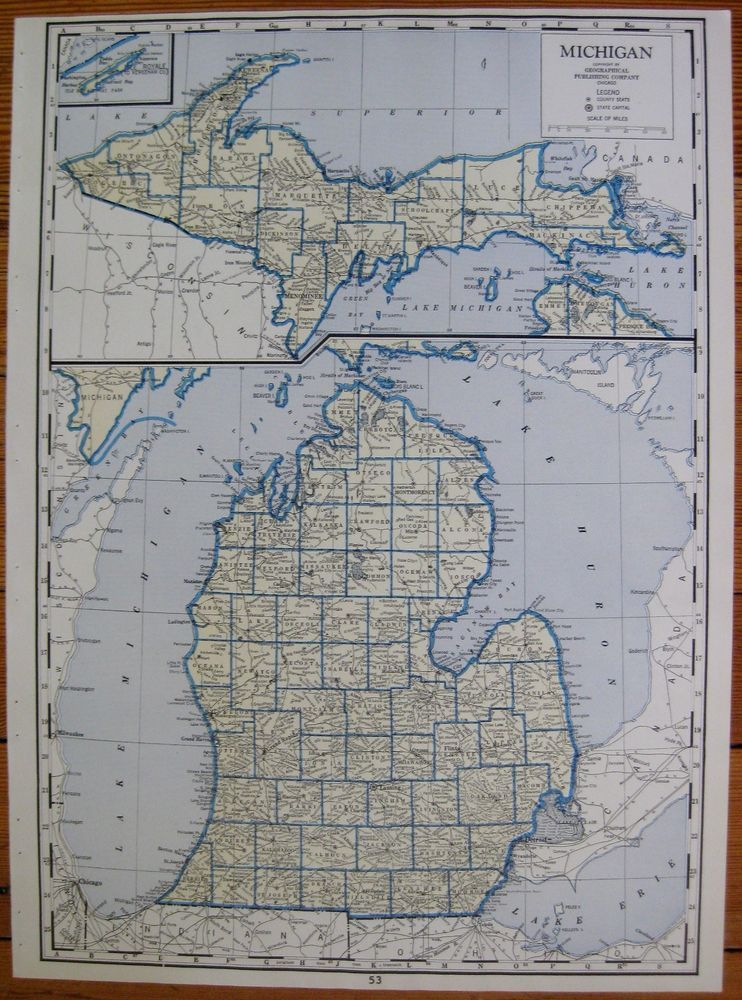 1957 Rare Antique Michigan Map Of Michigan Poster Print Uncommon