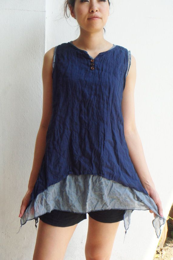 Deep Blue Sea Two Tone Two Layers Sleeveless by SweetCakeCookie, $33.00