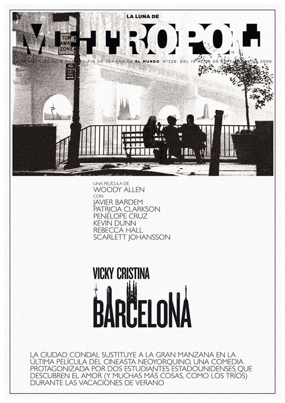 Vicky Cristina Barcelona, una película de Woody Allen (2008). Fotomontaje de Raúl Arias.
