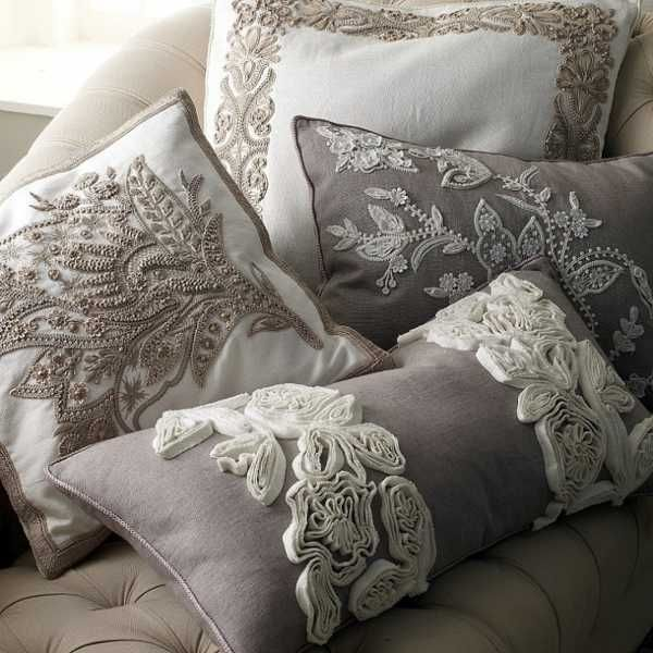 20 Creative Decorative Pillows, Craft Ideas Playing with Texture and Color Damask, Lace ...