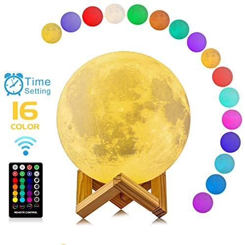 Buy Moon Lamp 3d Printing 16 Colors Rgb Led Moon Light With Stand And Timing Setting Moon Light Lamps With Remote Touch Control And Usb Recharge For Kids Lo In 2020