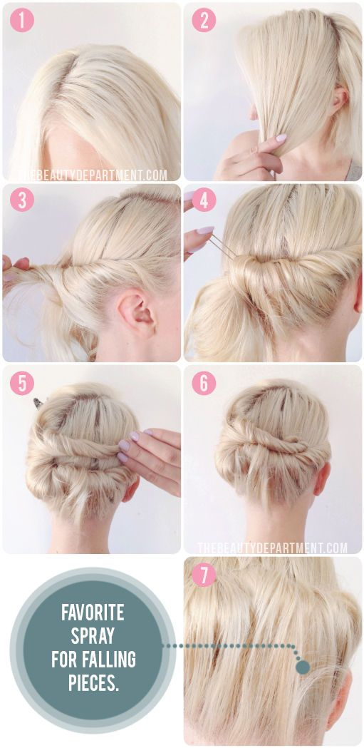 Knot Tie Updo For Short Hair Short Hair Updo Short Hair Styles Hair Styles