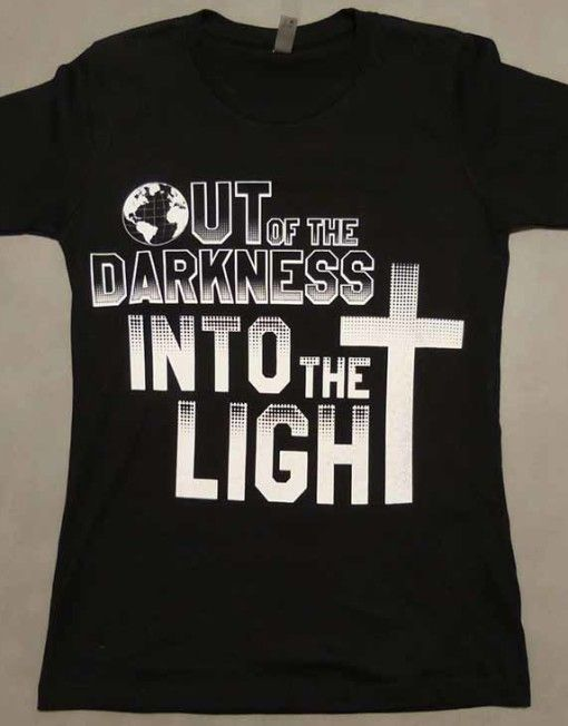 Front of shirt Christian T-shirt Inspired by Bible Scripture 1 John 1 7 –  But if we walk in the light as He is in the light 8972526b5da