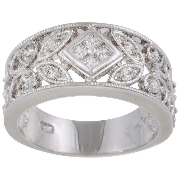 Sterling Essentials Antique Design Sterling Silver CZ Ring ($32) ❤ liked on Polyvore featuring jewelry, rings, white, sterling silver rings, white ring, princess cut cz ring, zirconia rings and cz band ring