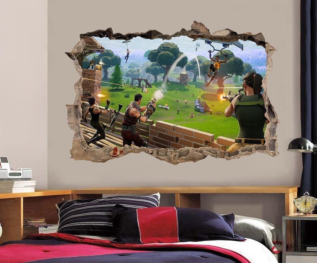 899 fortnite 3d smashed wall sticker decal home decor on wall stickers 3d id=94881