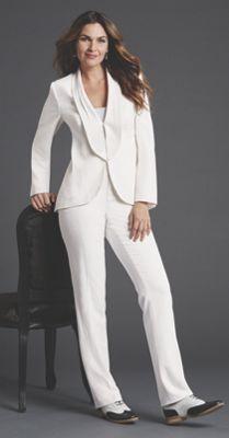 White On White Pantsuit Women Wearing The Pants Wedding Pantsuit