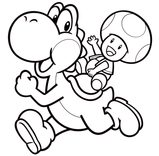 Yoshi And Toad Coloring Picture Super Mario Coloring Pages Mario Coloring Pages Coloring Pictures