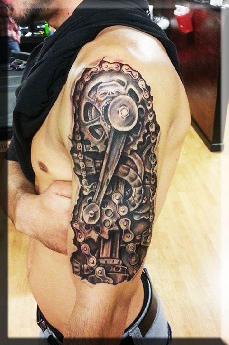 Tattoo gear tattoo sleeve mechanic tattoo mechanical tattoo gears - Biomechanical Machine Tattoo On The Shoulder