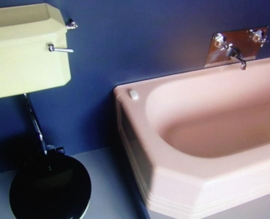 grand designs yellow sink pinktoilet bath