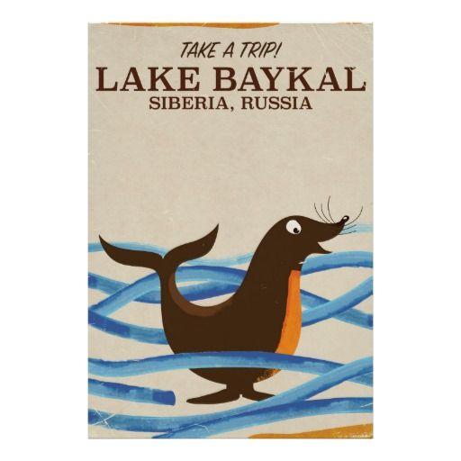 lake Baykal seal Vintage travel poster