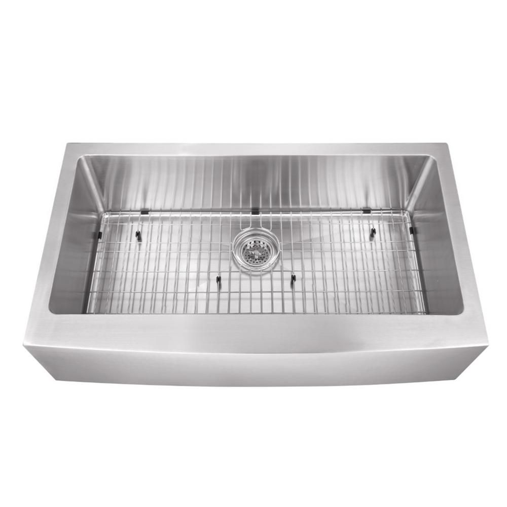 Cahaba Farmhouse Apron Front Stainless Steel 32 7 8 In Single Bowl Kitchen Sink Ca231sb32 The Home Depot Stainless Steel Kitchen Sink Apron Front Stainless Steel Kitchen Sink Single Bowl Kitchen Sink