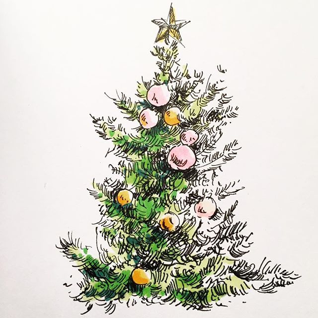 Merrychristmas To The 3k Of You Christmas Tree Christmastree Christmas2015 Handdrawn Drawing Sketch Christmas Tree Drawing Tree Drawing Christmas Watercolor