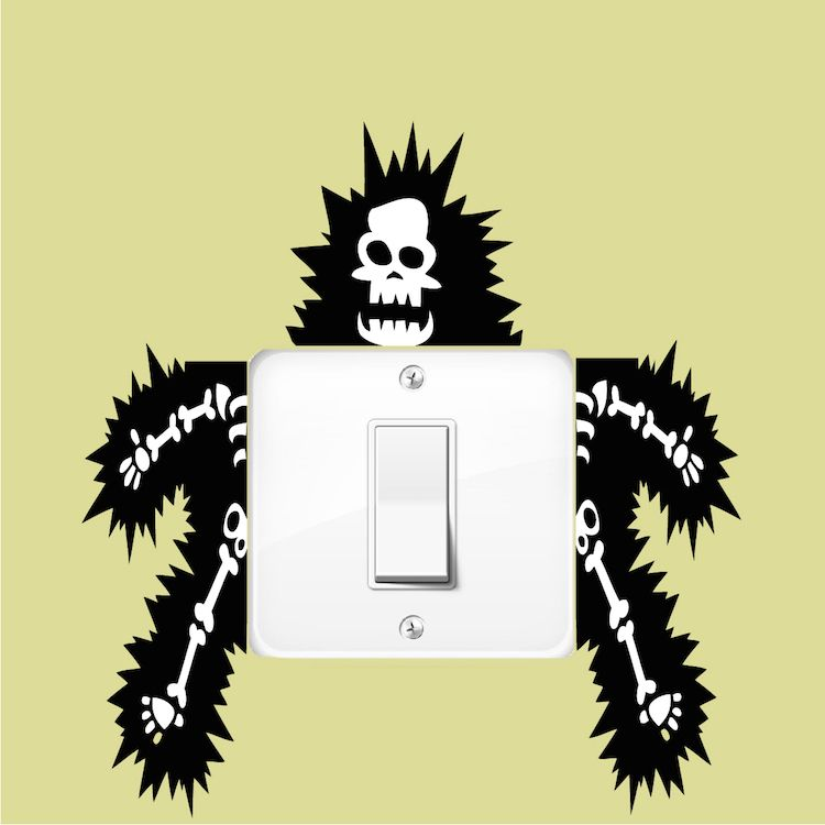 Funny Outlet or Light Switch Wall Decal Sticker - Electrocuted Guy ...