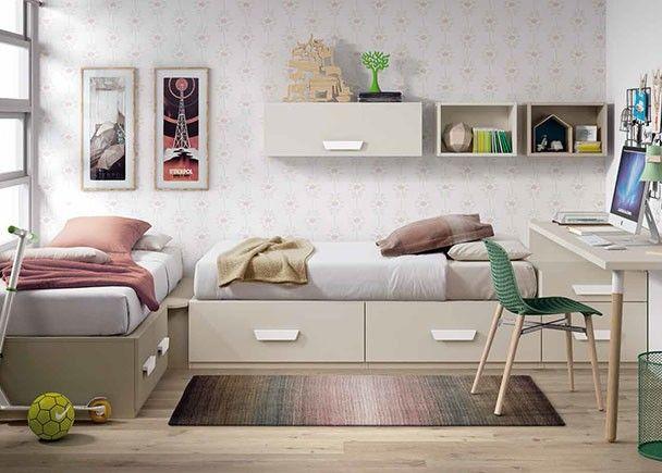 Habitación Infantil Con Dos Camas Modulares Con Cajones Dormitorios Compartidos Habitaciones Infantiles Dormitorios