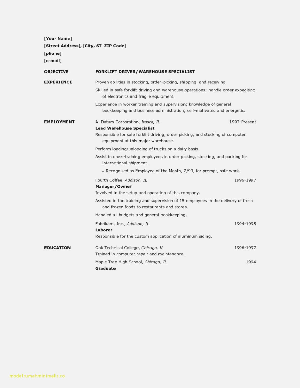 12 Forklift Operator Resume Samples Radaircars within