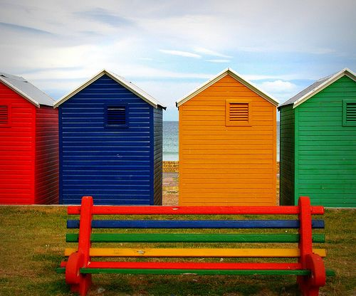 colorful beach huts in Fish Hoek, South Africa