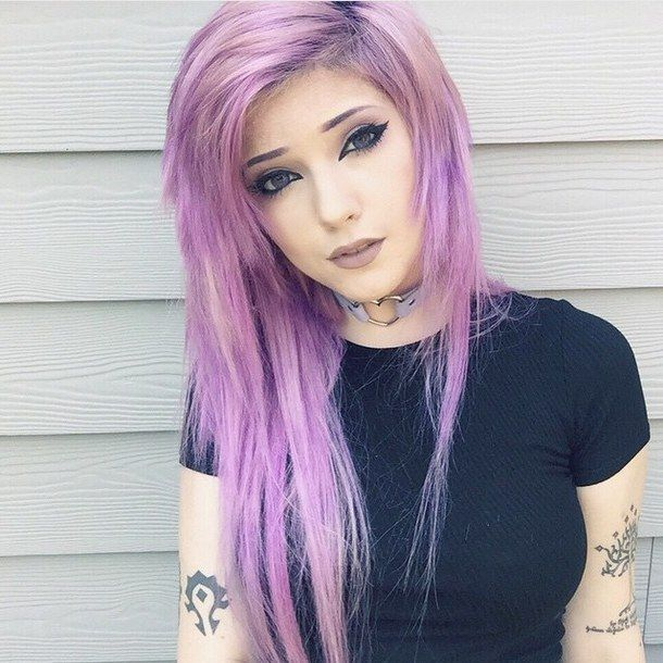 alt girl dyed hair kawaii leda muir pastel purple hair