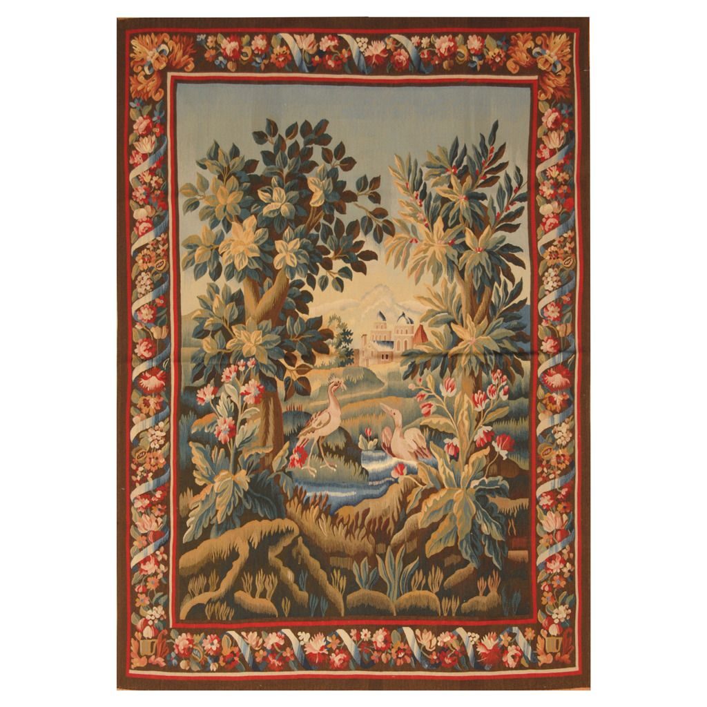 Asian Handwoven Aubusson Wool Tapestry (4'2 x 6′) Wool