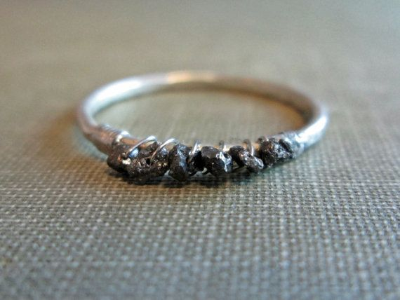 Black Uncut Diamond Ring // Sterling Silver by TheChestnutForge