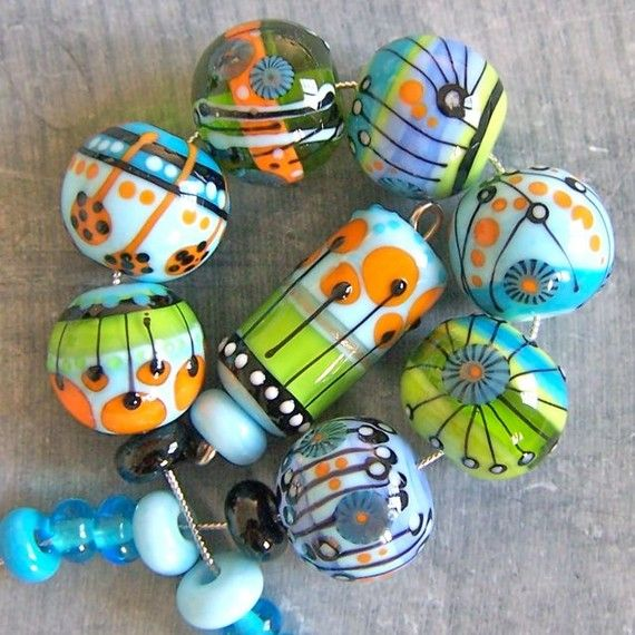 Sra. Magdalena Ruiz MruMru Handmade Lampwork Glass Bead  set