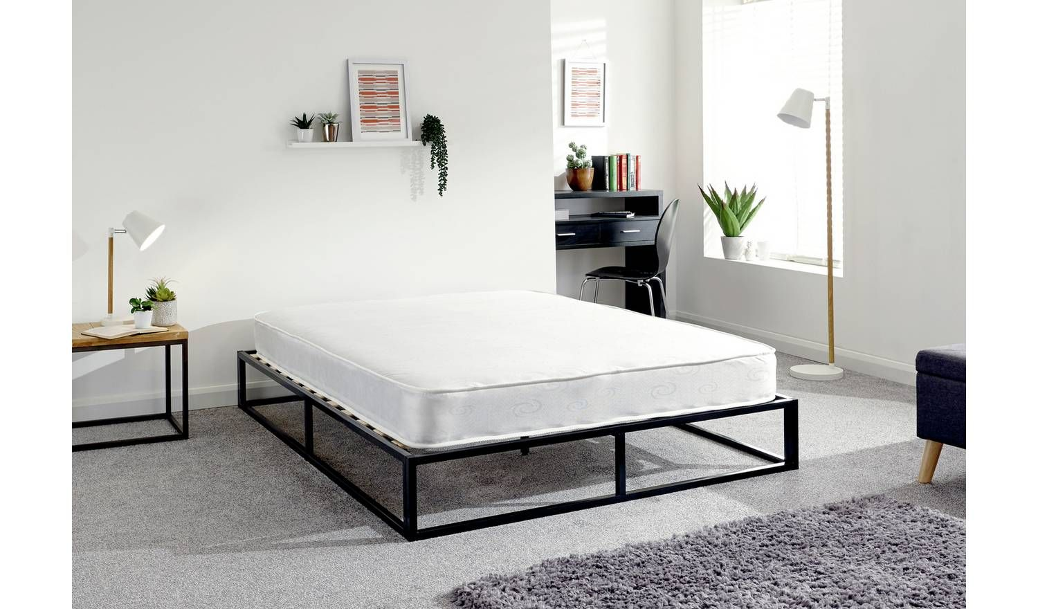 Buy GFW Platform Small Double Metal Bed Frame Black