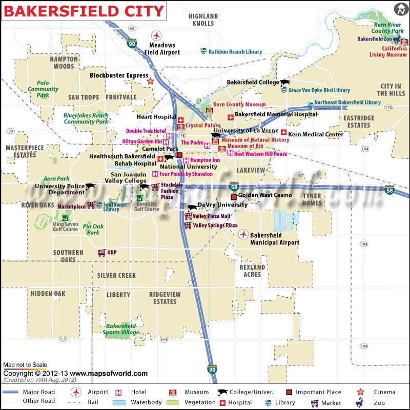 Bakersfield Map Map Of Bakersfield California Usa