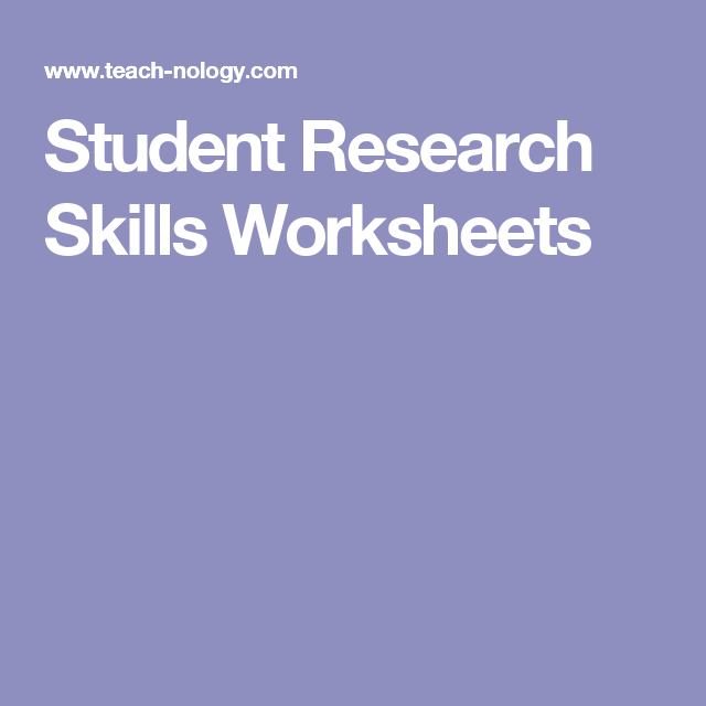 Student Research Skills Worksheets School Stuff Pinterest