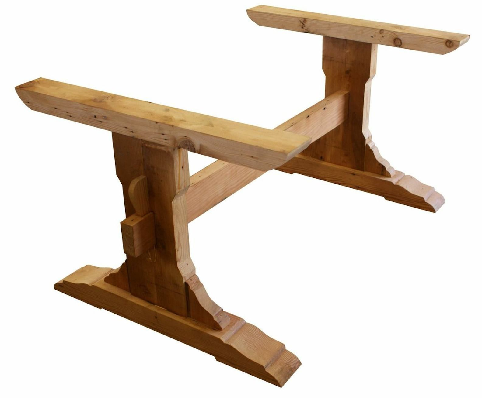 Image of reclaimed wood trestle table woodworking for Wooden small dining table