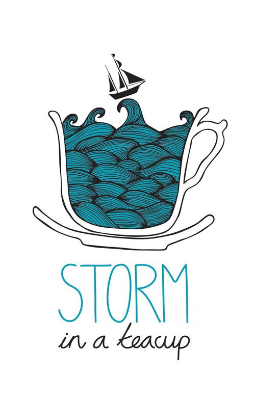 "Storm in a teacup: a variation of ""Tempest in a teapot"", an idiom meaning a small event that has been exaggerated out of proportion."