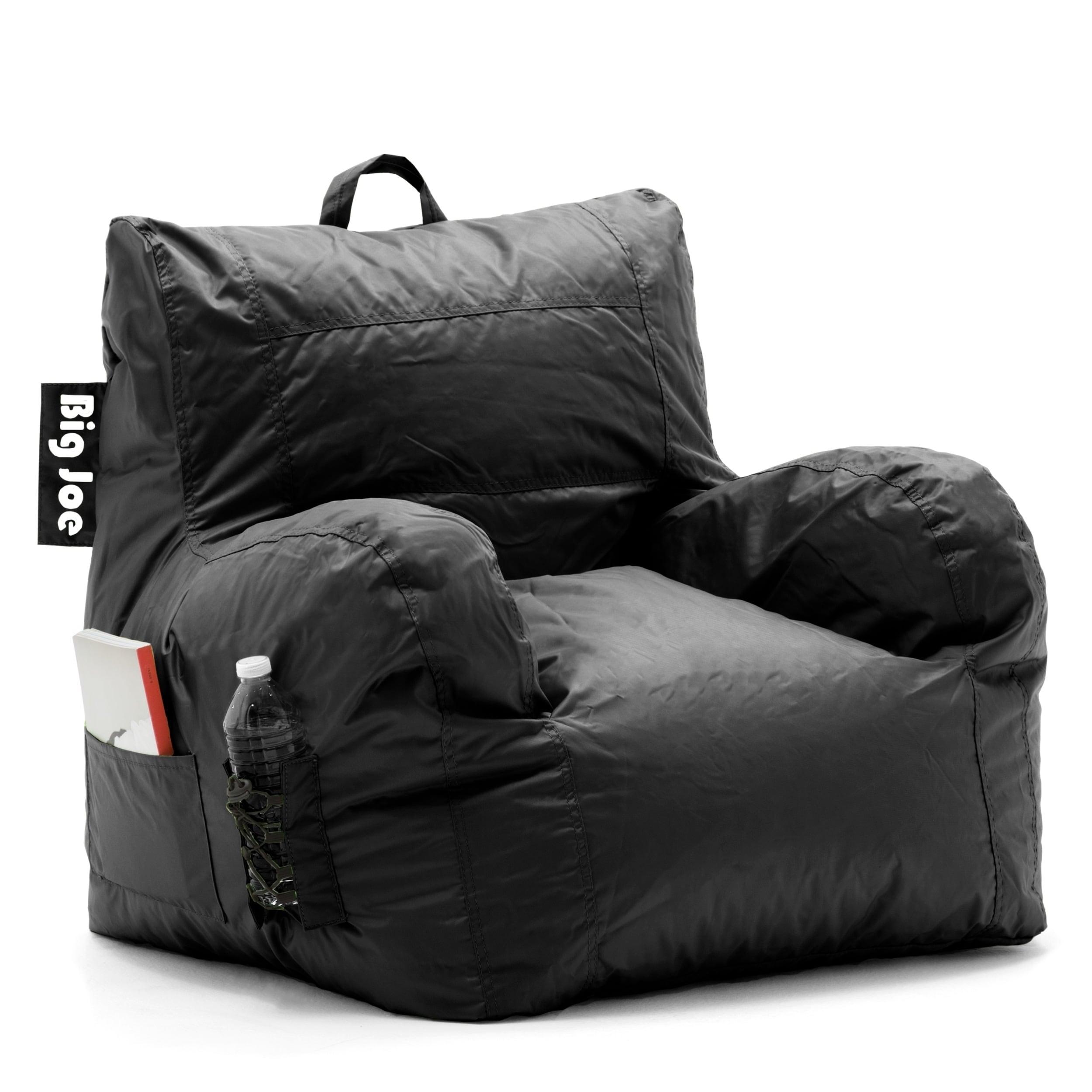 Joe Dorm Bean Bag Chair Black Microsuede Polystyrene Beads