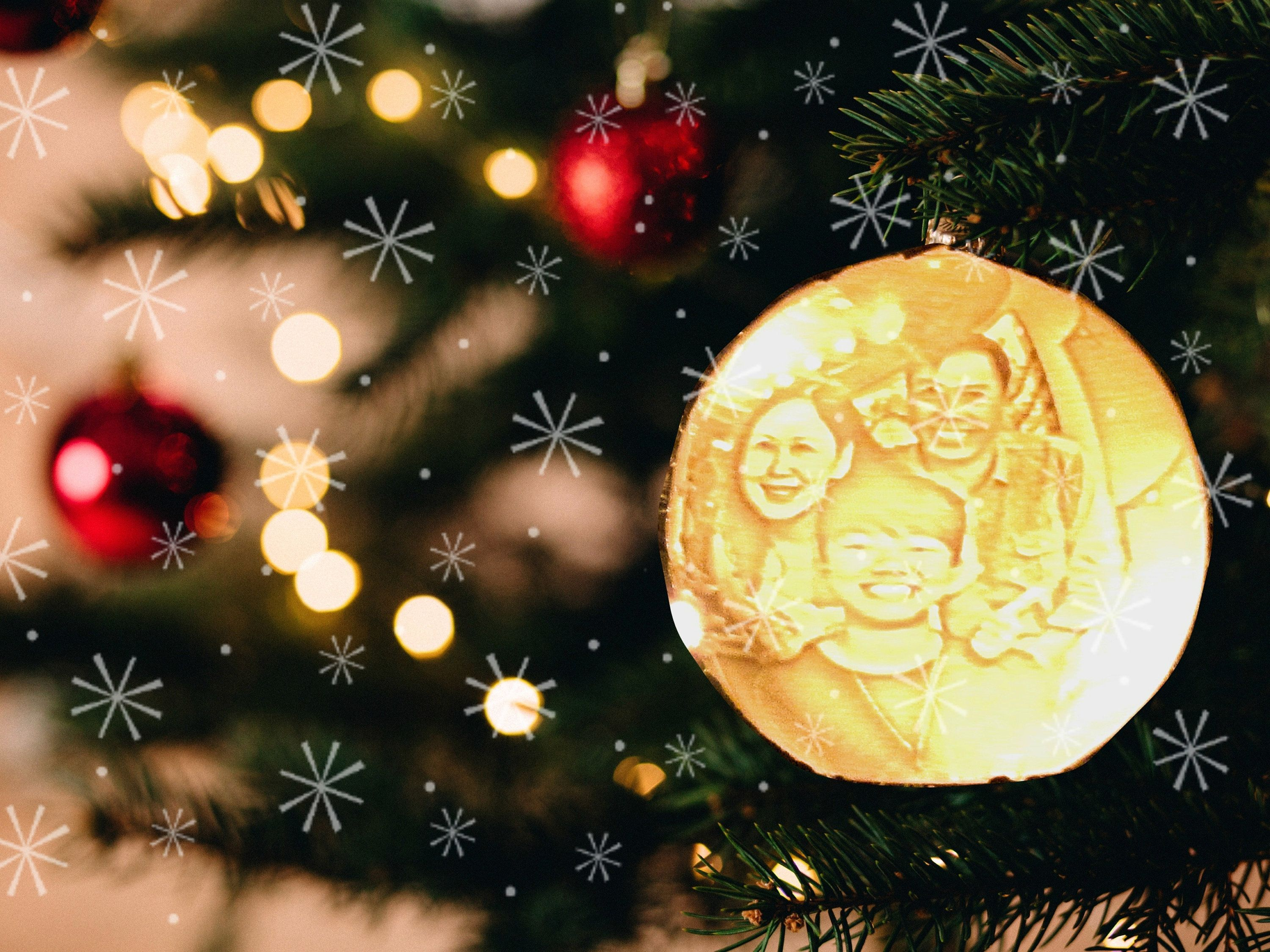 Custom Photo Portrait Ornament Ball Personalized Christmas Tree Decorations 3d Printed Holiday Gifts Lithophane Lamp Led Night Light Personalised Christmas Tree Decorations Personalised Christmas Decorations Photo Christmas Tree