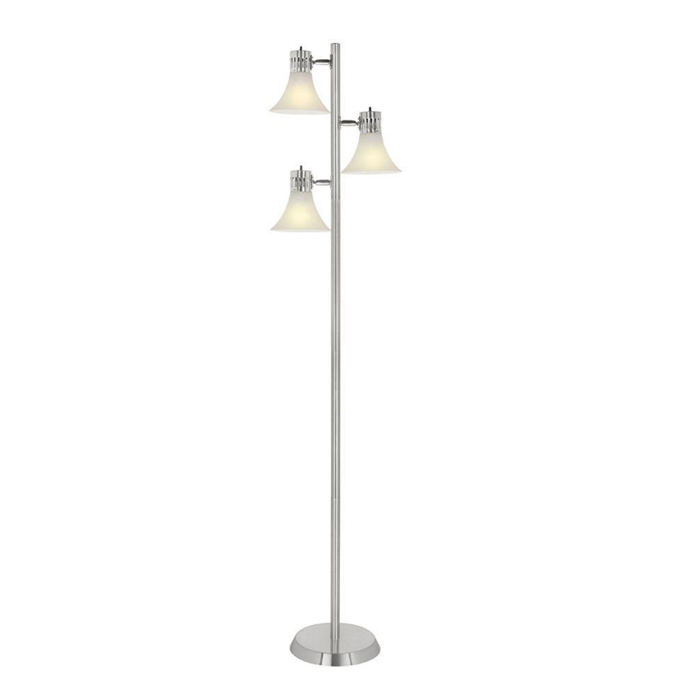 Hampton Bay 64 1 2 In Brushed Nickel Floor Lamp Nickel Floor